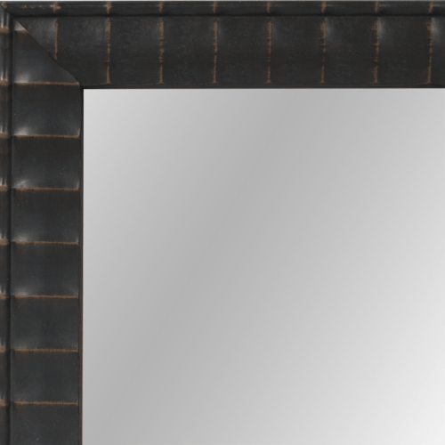 4105 Brown Rub Ribbed Framed Mirror