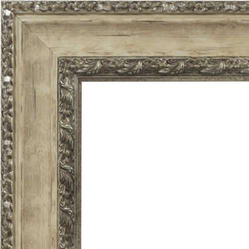 4109 Ivory & Silver Mirror Frame