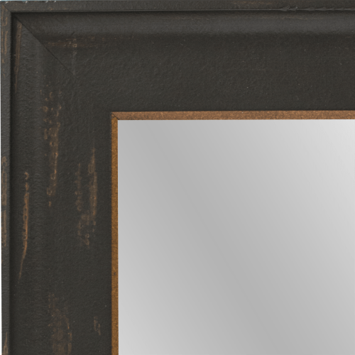 4111 Distressed Black and Gold Framed Mirror