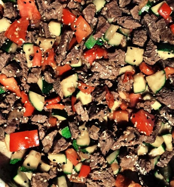 Sesame seeds, beef sirloin