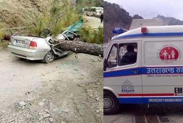उत्तराखंड – चलती कार पर गिरा पेड़, दो महिलाओं की दर्दनाक मौत एक गंभीर
