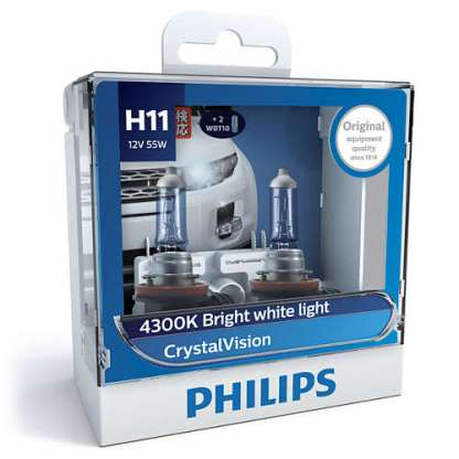 Лампа PHILIPS CrystalVision H11 12V 55W 2шт. 12362CVSM