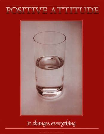 A half full glass of water on a red poster