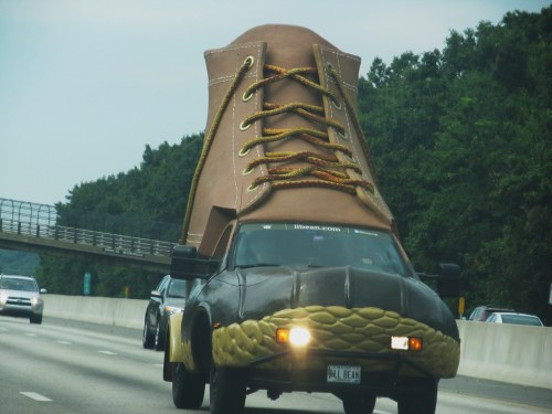 Weekly Photo Challenge: Surprise... L L Bean Shoe Car on the Highway