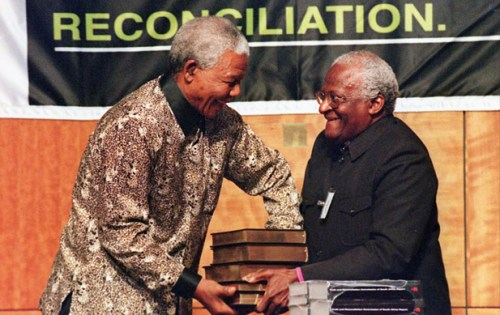 Nelson Mandela: Receiving the Truth & Reconciliation Commission files from Archbishop Desmond Tutu