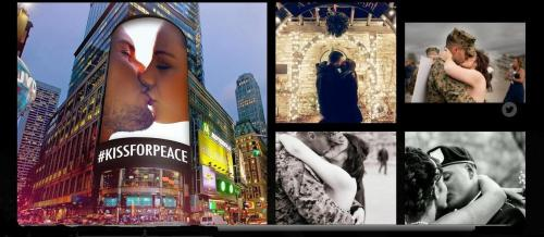 Screen shot of Time Sq Billboard kiss for Peace participants