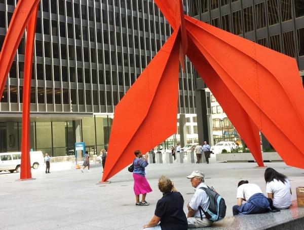 Weekly Photo Challenge: Angular - Flamingo Installation by Alexander Calder in Chicago