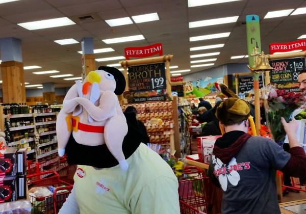 Weekly Photo Challenge: Express Yourself! Thanksgiving Turkey hats at Trader Joe's