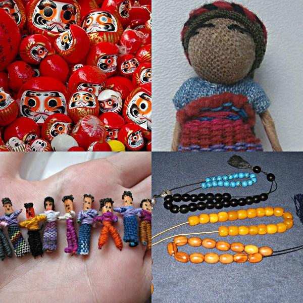 Motivation Mondays: WORRY - Red Daruma dolls, Worry Dolls and Worry Beads.