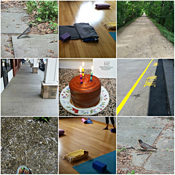 Weekly Photo Challenge: Beneath Your Feet... Yoga class, the Street, B'day Cake, & Nature