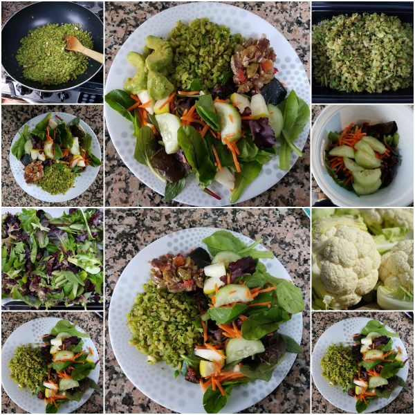 Food Files: Riced Broccoli with Olive Salad & Greens