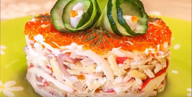 Салат из кальмаров с другими морепродуктами и морковкой по корейски - праздничные салаты