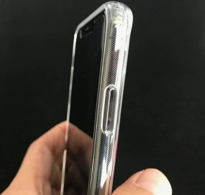 背面ガラスのiPhonexsmaxケース電源ボタン部分