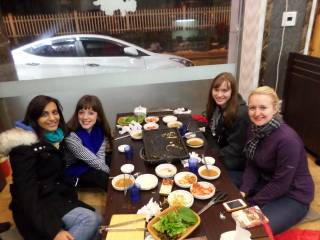 The girls enjoying galbi