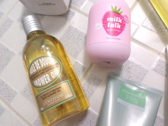 L'Occitane's Almond Body Oil, Etude House Milk Talk Strawberry Body Wash and Nature Republic's Professional PRO Hair Treatment