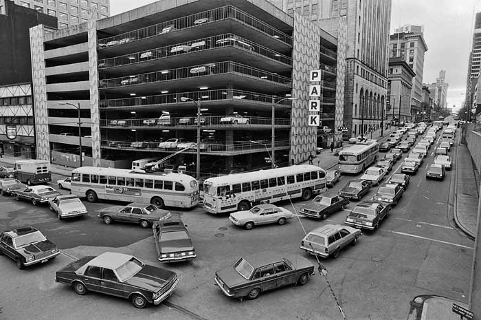 Traffic jam downtown Vancouver 1970s