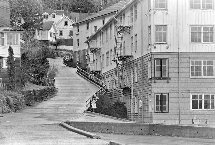 The wood plank streets of Ocean Falls 1981