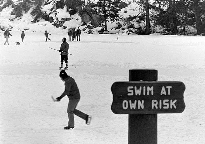 Swimming in Alice Lake in the winter