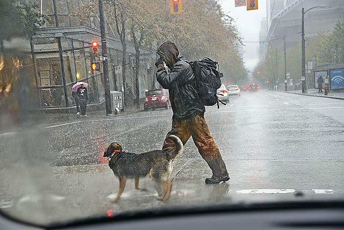 Heavy rain downtown Vancouver