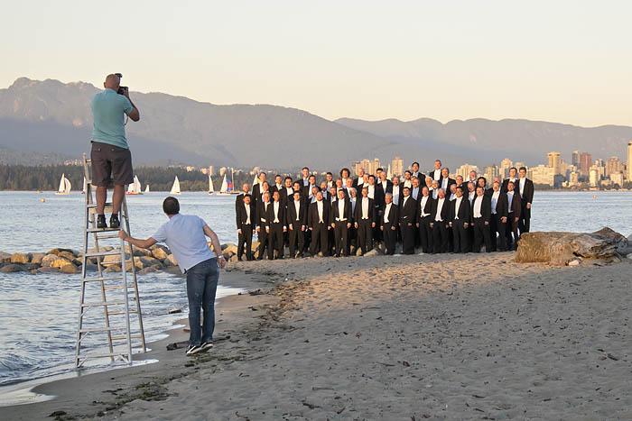 Mens choir on Jericho Beach