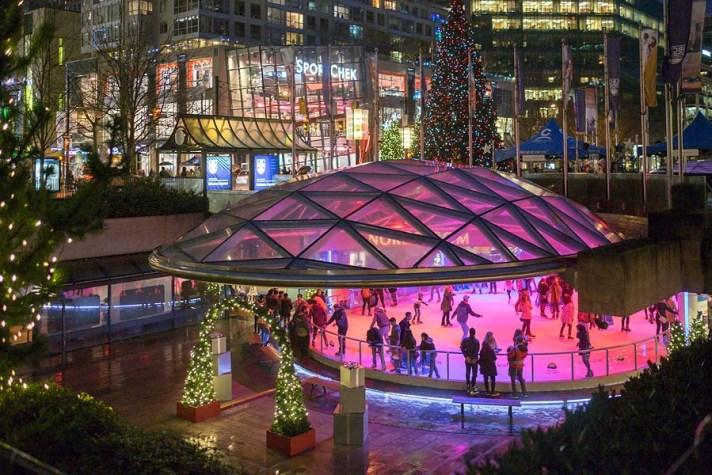 Robson Square skating rink.