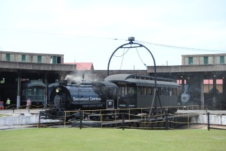 """""""Located at the center of the Roundhouse, the turntable allowed locomotives brought into the Roundhouse access to all of the stalls..."""""""