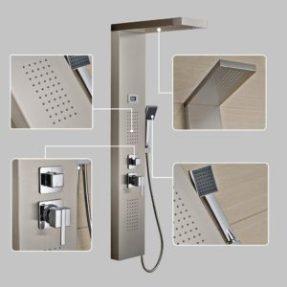 Auralum Edelstahl Duschpaneel mit Massagejets & Wasserfallduschkopf & LCD Display