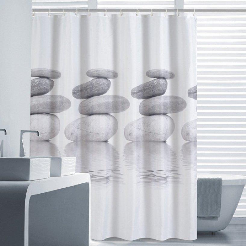 Norcho 180x180cm Grau Pebble Anti-Schimmel wasserdichter Duschvorhang mit 12 Duschvorhangringe für Badezimmer