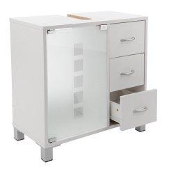 Limal Waschtischunterschrank weiß mit 3 Schubladen Holz 30 x 60 x 56 cm | Glastür | Teilrückwand | Aussparung für Siphon