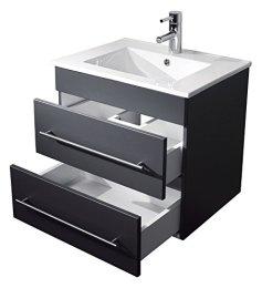 Badezimmer Waschtischunterschrank inkl. Waschbecken Seidenglanz
