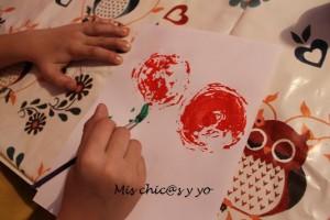 Pintar rosas con alcachofas