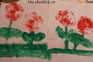 Estampar rosas con alcachofas