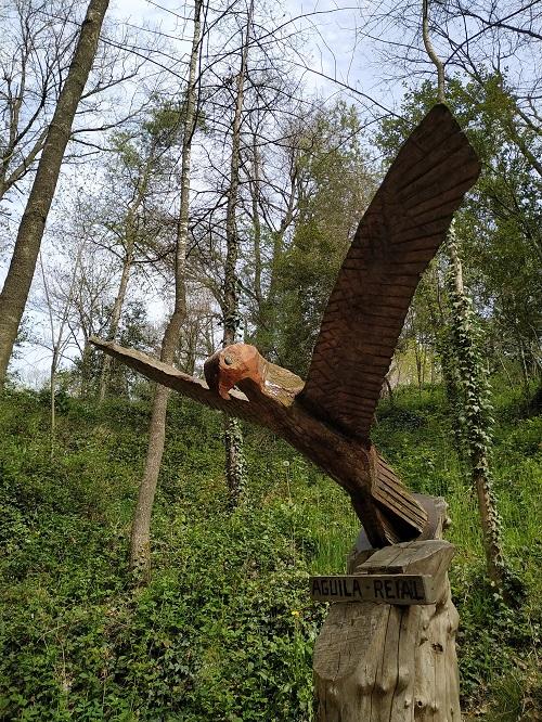 Aguila de madera en el Bosc encantat de Gurb