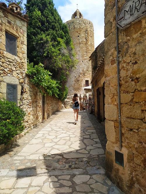 Una calle y al fondo se ve la torre de les hores