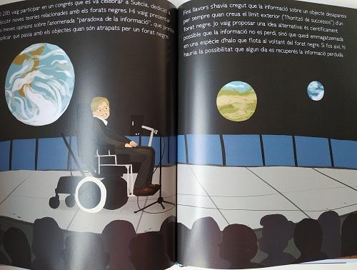 Paginas interiores de biografía de Sthepen Hawkings para niños