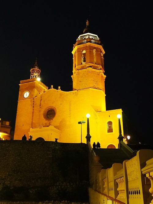 Iglesia de Sant Bartomeu i santa Tecla. Sitges de noche