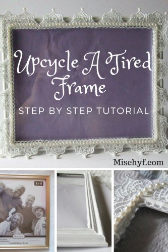 Elegant Frame making an old frame new again using lace and pearls.