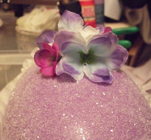 Glue flowers to top