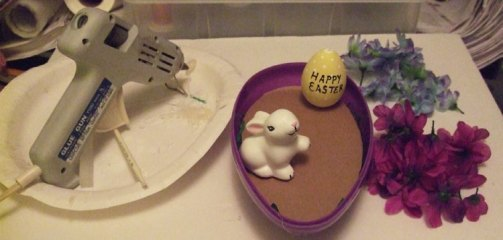 Ceramic bunny and egg placement