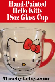 Hello Kitty painted 18oz glass cup.