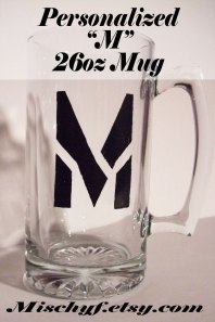 "Personalized initial ""M"" hand-painted in black 26oz Mug."