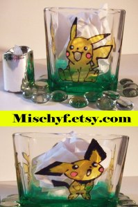 Hand painted Pokemon Pikachu glass candle holder. Found only at mischyf.etsy.com