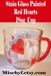 Hand-painted red heart 18oz cup. Only found at mischyf.etsy.com