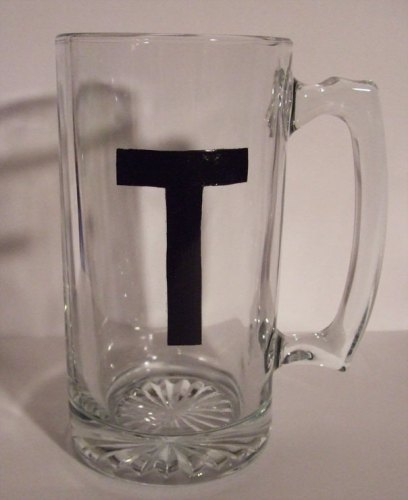 "Personalized letter ""T"" black painted mug. https://mischyf.com/personalize-glass-mug"
