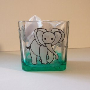 Elephant Glass Candle Holder