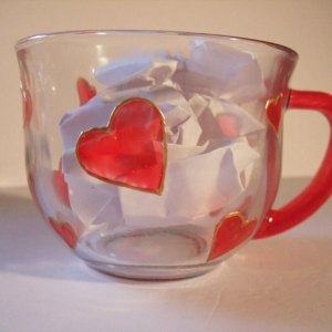 Red Heart Tea Mug, Coffee Cup, Drinking Glass