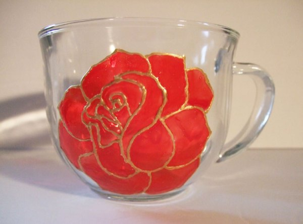 Red Rose Coffee Mug, Painted Glass Tea Cup