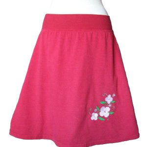 Red Skirt with Apple Blossom Embroidery