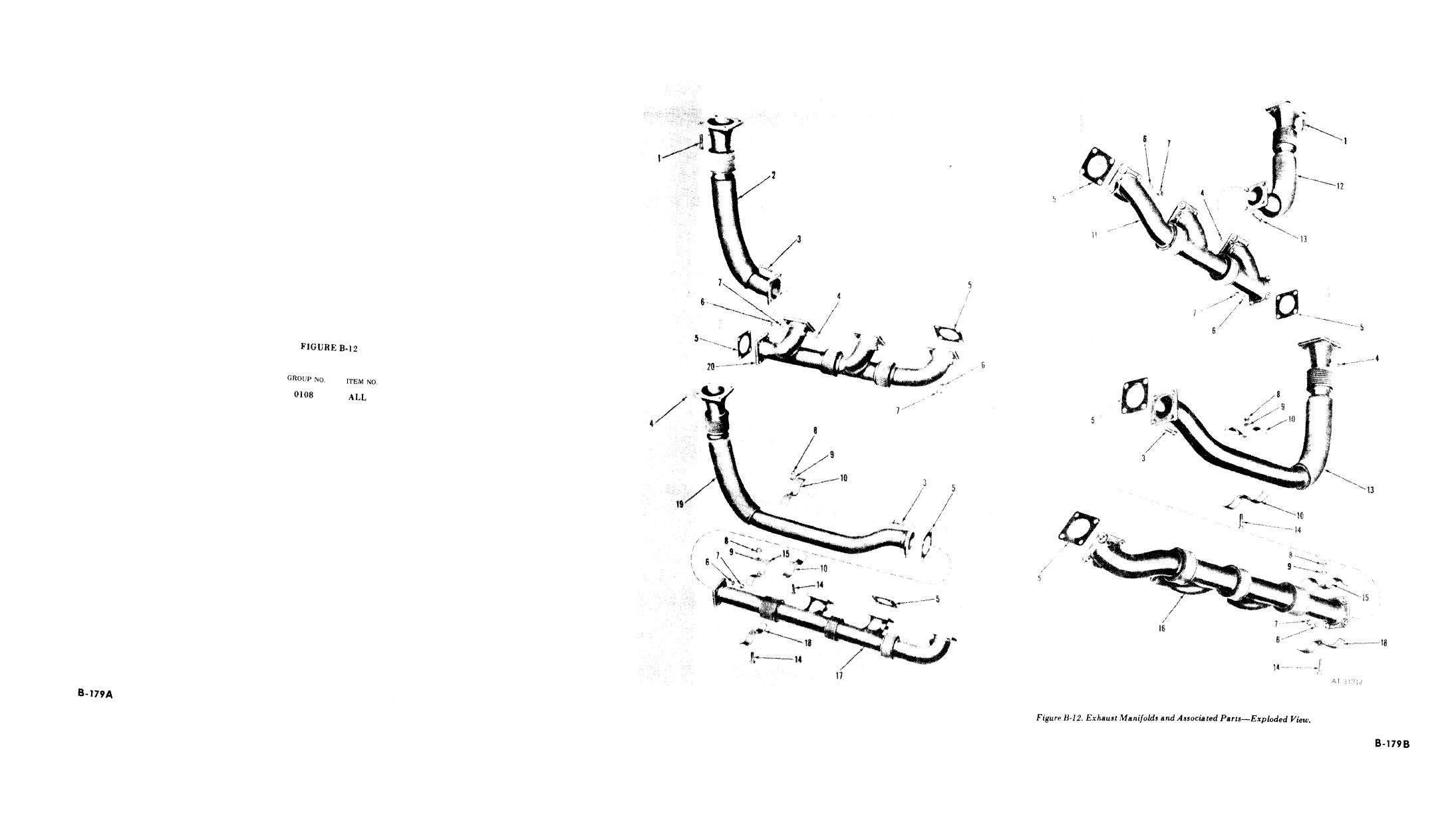 Figure B 12 Exhaust Manifolds And Associated Parts