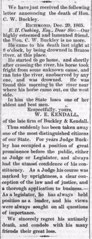 Buckley HoustonTelegraph 22Dec1865